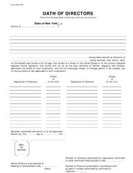 "Form ODTI ""Oath of Directors (Stock-Form Savings Banks and Savings and Loan Associations)"" - New York"