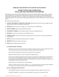 """Final Job Creation/Retention Report"" - Nebraska"