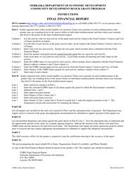 """Final Financial Report - Community Development Block Grant Program"" - Nebraska"