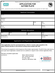 """Form MVD-11201 """"Application for Autism Plate"""" - New Mexico"""