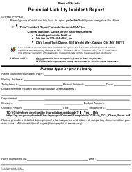 "Form TC-2 ""Potential Liability Incident Report"" - Nevada"