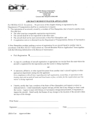 """""""Aircraft Resident Waiver Application"""" - New Hampshire"""