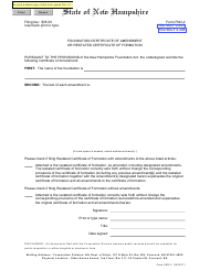 """Form FND-2 """"Foundation Certificate of Amendment or Restated Certificate of Formation"""" - New Hampshire"""