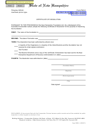 """Form FND-5 """"Certificate of Dissolution"""" - New Hampshire"""