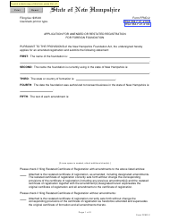 """Form FFND-2 """"Application for Amended or Restated Registration for Foreign Foundation"""" - New Hampshire"""