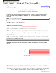 """Form FFND-5 """"Certificate of Cancellation of Registration of Foreign Foundation"""" - New Hampshire"""