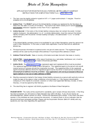 """Form FLLC-1 """"Application for Registration as a Foreign Limited Liability Company"""" - New Hampshire"""