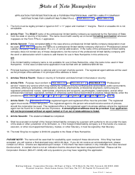 """Form FPLLC-1 """"Application for Registration as a Foreign Professional Limited Liability Company"""" - New Hampshire"""