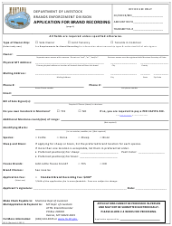 """Form BE-3 """"Application for Brand Recording"""" - Montana"""