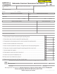 "Form 62 ""Nebraska Uranium Severance Tax Return"" - Nebraska"