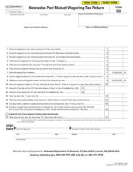 """Form 69 """"Nebraska Pari-Mutuel Wagering Tax Return"""" - Nebraska"""