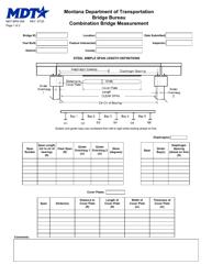"Form MDT-BRG-008 ""Combination Bridge Measurement"" - Montana"