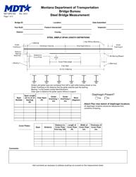 """Form MDT-BRG-005 """"Steel Bridge Measurement"""" - Montana"""