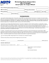 "Form MDT-CIV-017 ""Annual Update ""no Change"" Affidavit"" - Montana"