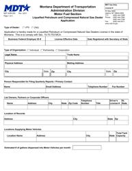 "Form MDT-ADM-005 ""Liquefied Petroleum and Compressed Natural Gas Dealer Application"" - Montana"