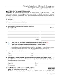 """""""Notification of Audit Form (Naa)"""" - Nebraska"""
