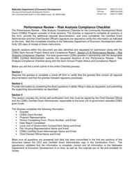 """Performance Review - Risk Analysis Compliance Checklist"" - Nebraska"