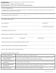 "Form CC-9B ""Child Care Provider Subsidy Agreement"" - Nebraska"
