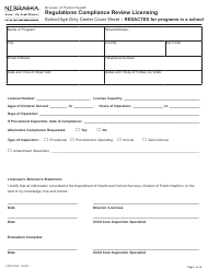 """Form CRED-0968 """"Regulations Compliance Review Licensing - School Age Only Center Checklist With Cover Sheet - Reacted for Programs in a School"""" - Nebraska"""