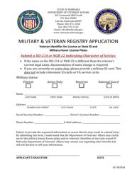 """""""Military & Veteran Registry Application"""" - Nebraska"""