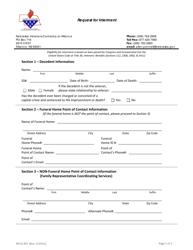 """Request for Interment"" - Nebraska"