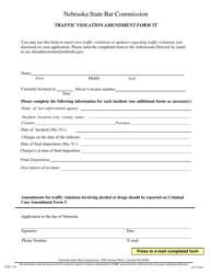 """Form 5T (NSBC1:01) """"Nebraska State Bar Commission Traffic Violation Amendment Form"""" - Nebraska"""