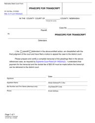"""Form CC9:6 """"Praecipe for Transcript"""" - Nebraska"""