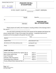 "Form CC9:7 ""Praecipe for Bill of Exceptions"" - Nebraska"