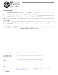 """Form ODR-GR-F-067 """"Mediator Grievance Form"""" - Nebraska"""