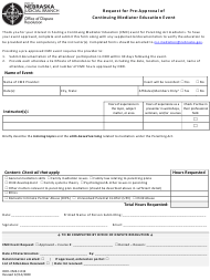 """Form ODR-CME-F-032 """"Request for Pre-approval of Continuing Mediator Education Event"""" - Nebraska"""