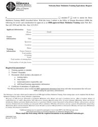 "Form ODR-BMT-F-001 ""Nebraska Basic Mediation Training Equivalency Request"" - Nebraska"