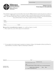 "Form ODR-GR-F-065 ""Mediator Grievance: Written Request for Reconsideration"" - Nebraska"