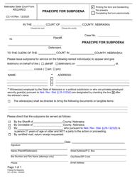 """Form CC4:6 """"Praecipe for Subpoena"""" - Nebraska"""