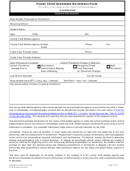 """""""Foster Child Immediate Enrollment Form for Children in the Custody of a Nv County Child Welfare Agency"""" - New Hampshire"""