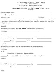 """Nonpublic School Zoning Verification Form"" - New Hampshire"