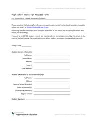 """High School Transcript Request Form for Students of Closed Nonpublic Schools"" - New Hampshire"