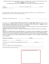 """Autorizacion Para Dar Informacion Sobre Antecedentes Penales"" - New Mexico (Spanish)"