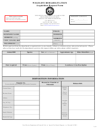 """Wildlife Rehabilitation Acquisition Request Form"" - New Mexico"