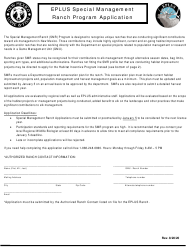 """""""Eplus Special Management Ranch Program Application"""" - New Mexico"""