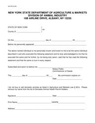 "Form AI45 ""Affidavit: Non Domestic Animal Health Permit Holder"" - New York"