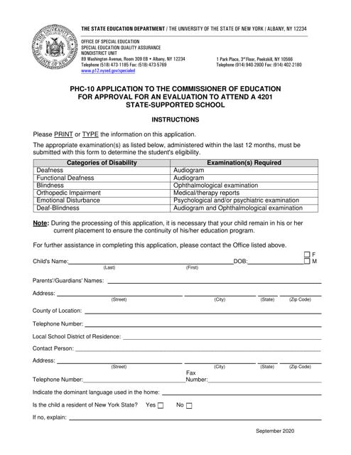 Form PHC-10 Printable Pdf