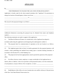 """Form CL-FB/A """"Application for Permission to Change the Location of Branch/Agency"""" - New York"""