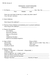 """Form FB102 Annex A """"Personal Questionnaire"""" - New York"""