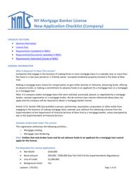 """Ny Mortgage Banker License New Application Checklist (Company)"" - New York"