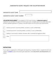 """Subgrantee Agency Request for Volunteer Waiver"" - North Dakota"