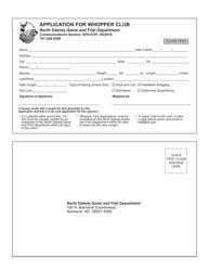 """Form SFN6181 """"Application for Whopper Club"""" - North Dakota"""