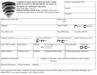 "Form SFN7722 ""Tuberculosis Infection Report Card"" - North Dakota"