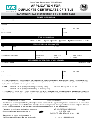 """Form MVD-10901 """"Application for Duplicate Certificate of Title"""" - New Mexico"""