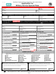 """Form MVD-10353 """"Application for Military Service Special Plate"""" - New Mexico"""