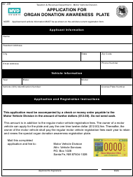 """Form MVD-10666 """"Application for Organ Donation Awareness Plate"""" - New Mexico"""